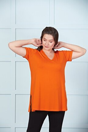 Kadın Turuncu V Yaka Basıc Tişört