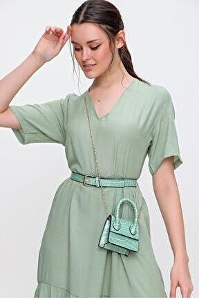 Kadın Yeşil Yeşil Kemerli Petit Çanta Cnt0001 Cnt0001