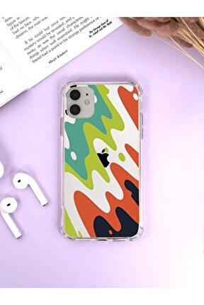 Iphone 12 Köşe Darbe Korumalı Magic Colors Luxury Olex Şeffaf Kılıf