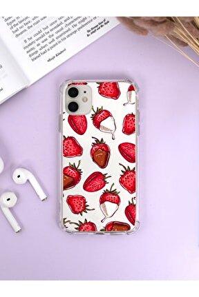 Iphone 12 Köşe Darbe Korumalı Çikolatalı Çilek Luxury Olex Şeffaf Kılıf