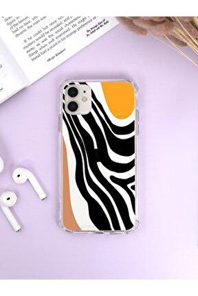 Iphone 12 Köşe Darbe Korumalı Modern Art Luxury Olex Şeffaf Kılıf