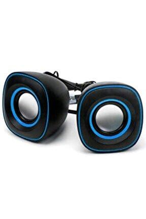 D-015 Mini Usb 2.0 Hoparlör 1+1 Ses Sistemi Pc Laptop Notebook Speaker Siyah - Mavi