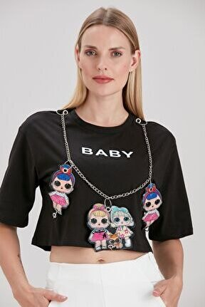 Kadın Siyah Baby Baskılı İllüstrasyon Bebekli Zincir Detaylı Crop T-Shirt YL-TS99271