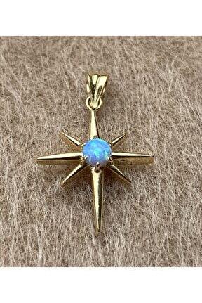 14 Ayar Altın Mavi Opal Taşlı Kuzey Yıldızı Kolye Ucu