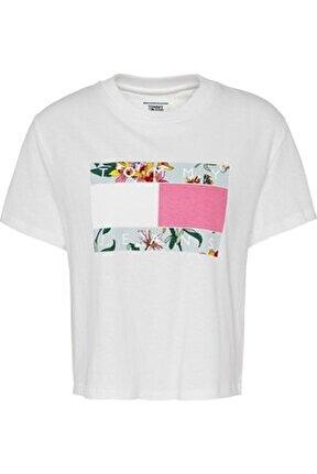 Kadın Beyaz Tjw Hawaıı Flag Flag Tee T-Shirt