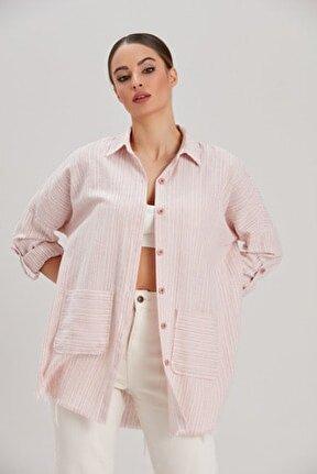 Kadın Pembe Çizgili İki Cepli Oversize Gömlek YL-GM99924
