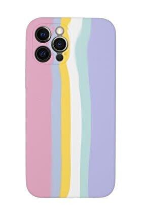 Iphone 12 Pro Max Uyumlu Kamera Lens Korumalı Gökkuşağı Lansman Kılıf