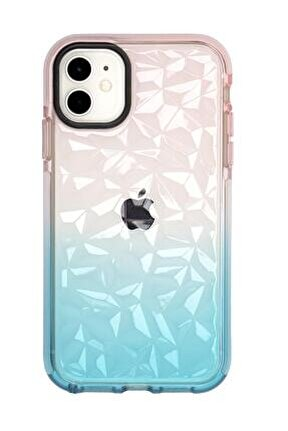 Iphone 11 3d Prizma Dokulu Renkli Kenar Detaylı Şeffaf Silikonlu Telefon Kılıfı