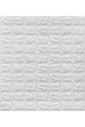 Yapışkanlı Sünger Beyaz Tuğla Duvar Kağıdı Kaplama Paneli 70x77 Cm 6 Adet