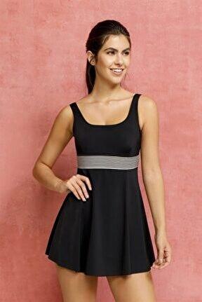 Kadın Siyah Elbise Mayo Etekli Mayo Yüzücü Mayo