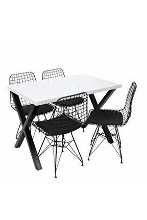 Masa Sandalye Takımı Tel Sandalye X Ayak Masa