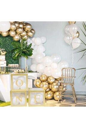 One Yazılı Gold Kutu Ve Balon Seti Bebek 1 Yaş Doğum Günü Kutlama