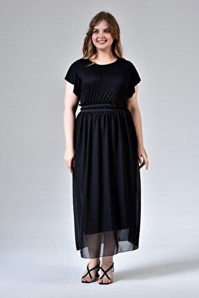 Büyük Beden Kısa Kol Eteği Şifon Elbise