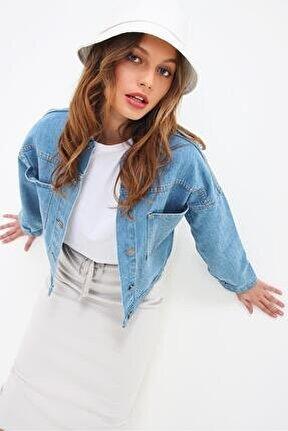 Kadın Mavi Crop Denım Ceket Smd-xdf3631-rv