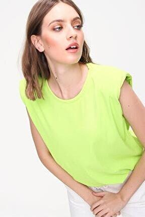 Kadın Yağ Yeşili Bisiklet Yaka Vatkalı Basic T-shirt Smd-x5552
