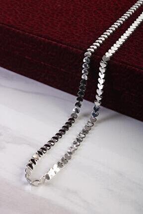 Unisex Balık Sırtı Zincir Kolye Gümüş Renk