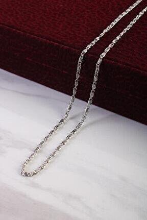 Unisex Örme Zincir Kolye Gümüş Renk