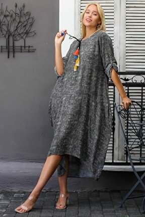 Kadın Füme Sıfır Yaka Püskül Bağlamalı Uzun Kolları Ayarlı Salaş Dokuma Elbise M10160000EL94409