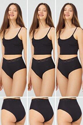 Basic Yüksek Bel Lazer Kesim Bikini Külot 3'lü Paket - 3