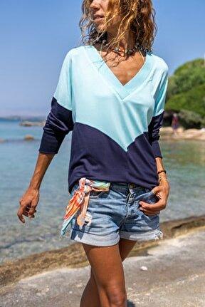 Kadın Mint-Lacivert V Yaka Color Block Yumuşak Dokulu Salaş Bluz GK-BST3167