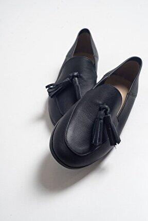 F04 Siyah Cilt Deri Ayakkabı