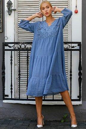 Kadın Mavi İtalyan Dantel Yakalı Kafes Desen Dantel Astarlı Elbise M10160000EL94224