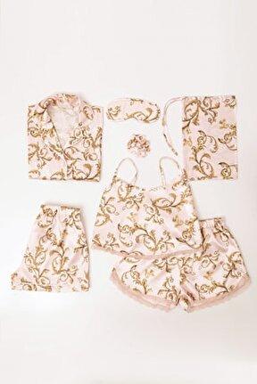 7 Li Desenli Saten Pijama Takım