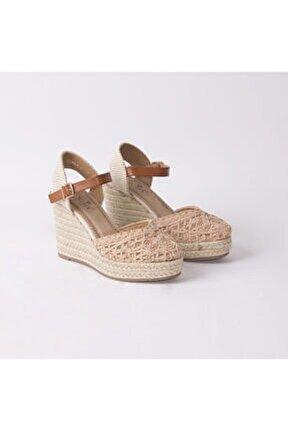 Kadın Pembe Hasır Tabanlı Dolgu Topuk Ayakkabı 240/4