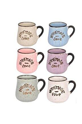 Seramik Bardak, 6 Renk Homemade Love Büyük Kahve Takımı 11189