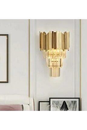 Modern Luxury Kristal Taşlı Aplik Gold Sarı Parlak Kaplama