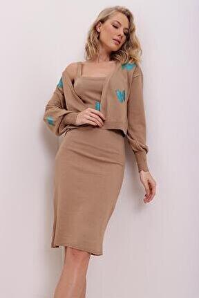 Kadın Bisküvi Kelebek Detaylı Crop Hırka Ve Askılı Elbise Ikili Takım Avn0009