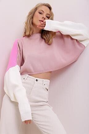 Kadın Pembe Renk Bloklu Crop Triko Sweatshirt Ml00003