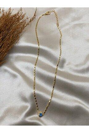 Altın Renk Nazar Figürlü Kolye