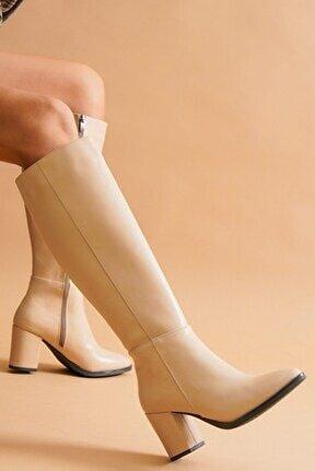 Kleo Nude Deri Topuklu Yanı Fermuarlı Günlük Kullanım Çizme