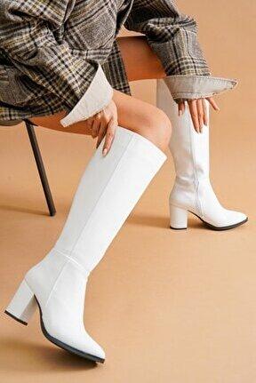 Kleo Beyaz Deri Topuklu Yanı Fermuarlı Günlük Kullanım Çizme