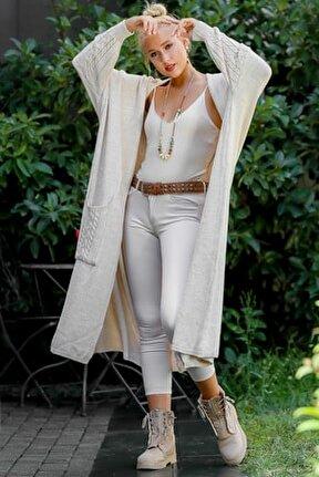 Kadın Camel Salaş Düğme Detaylı Triko Hırka M10010900HR99551