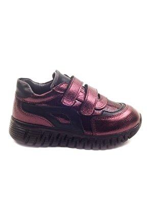 Kız Cocuk Bordo Deri Ortopedik Destekli Çocuk Ayakkabı