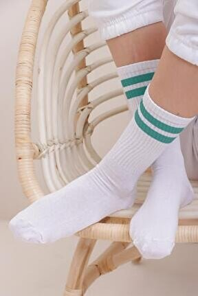 Kadın Petrol Çift Şeritli Uzun Unisex Çorap Ps00001