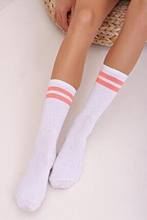 Kadın Turuncu Çift Şeritli Uzun Unisex Çorap Ps00001