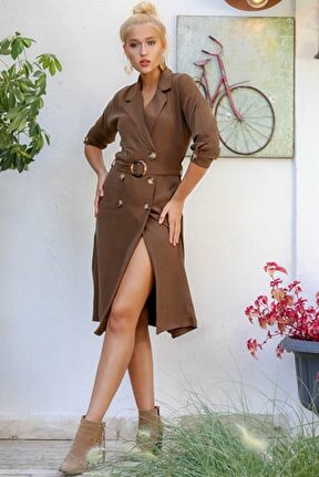 Kadın Taba Ceket Yaka Düğme Detaylı Yırtmaçlı Kuşaklı Dokuma Elbise M10160000EL94184