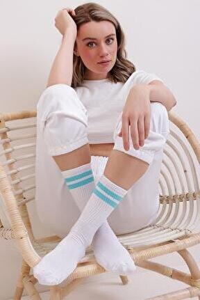 Kadın Turkuaz Çift Şeritli Uzun Unisex Çorap Ps00001