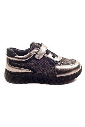 Kız Cocuk Platin Deri Ortopedik Destekli Çocuk Ayakkabı