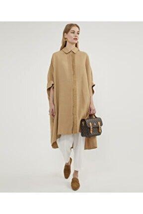 Kadın Dantel Işli Camel Tunik V154590198