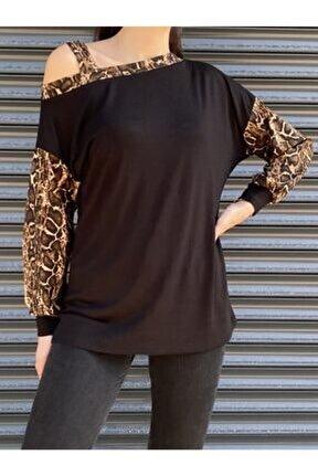 Kadın Siyah Omuz Dekolteli Kolları Leopar Detay Bluz