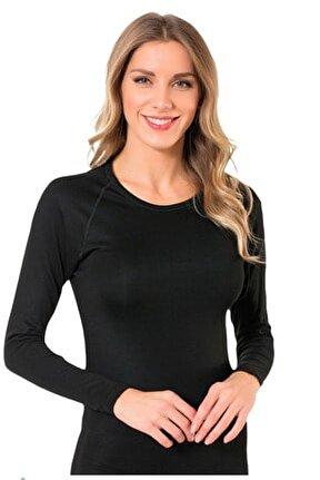 Siyah Kadın Termal Şardonlu Uzun Kollu Fanila 2021