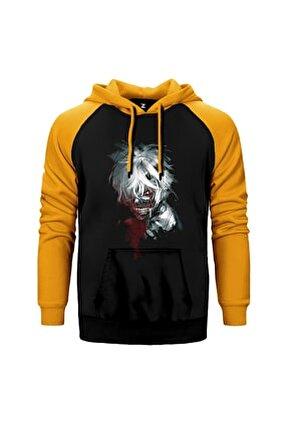 Tokyo Ghoul Sarı Reglan Kol Kapüşonlu Sweatshirt