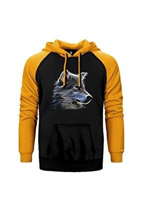 Aura Wolf Sarı Reglan Kol Kapüşonlu Sweatshirt