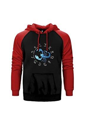 Akrep Burcu Modern Kırmızı Reglan Kol Kapüşonlu Sweatshirt