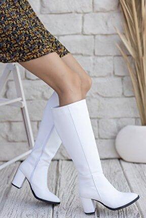 Kadın Josefa Kısa Topuklu Beyaz Mat Deri Çizme