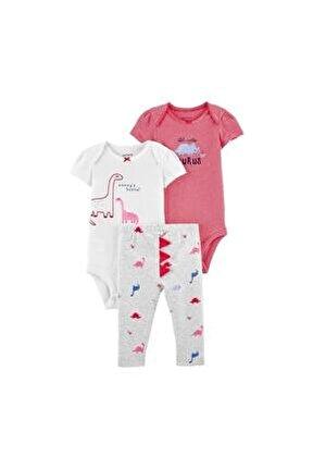 Kız Bebek Pembe Dinozor Desenli 3'lü Takım 1k116910